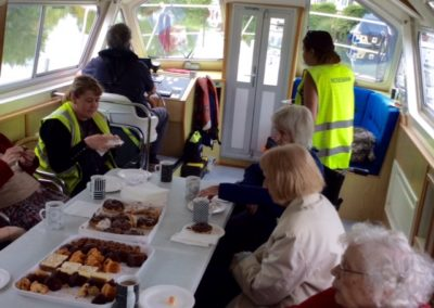 Rosebank Care Home enjoying their lunch on board